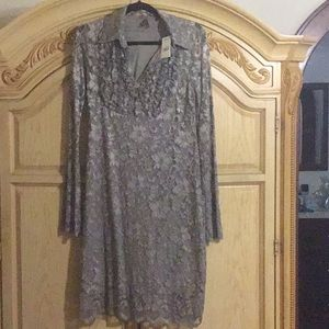 Stetson Dress NWT Taupe Stretch Lace Dress